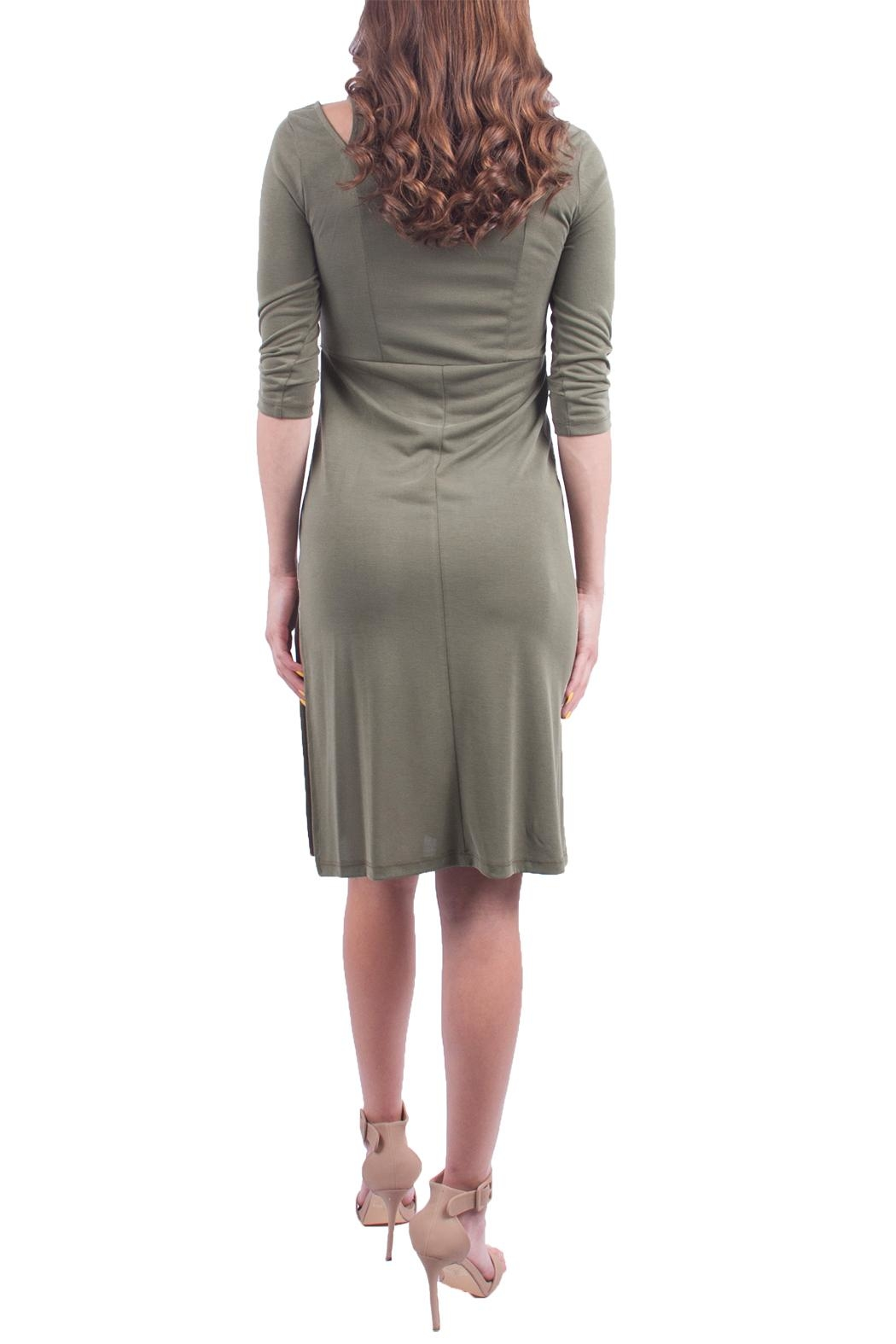 Everly Olive Shoulder Dress - Side Cropped Image