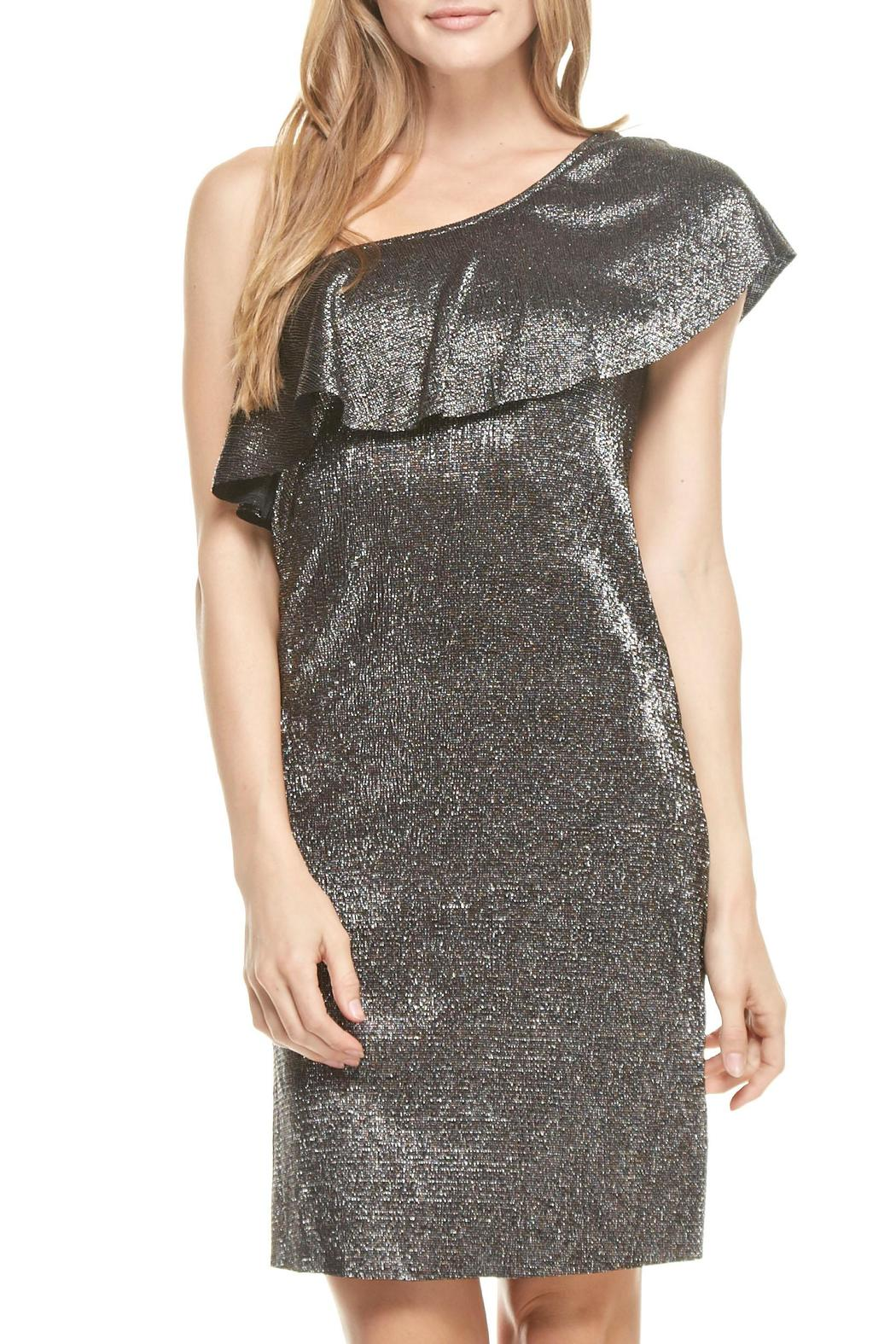 Everly One Shoulder Disco Dress - Front Full Image