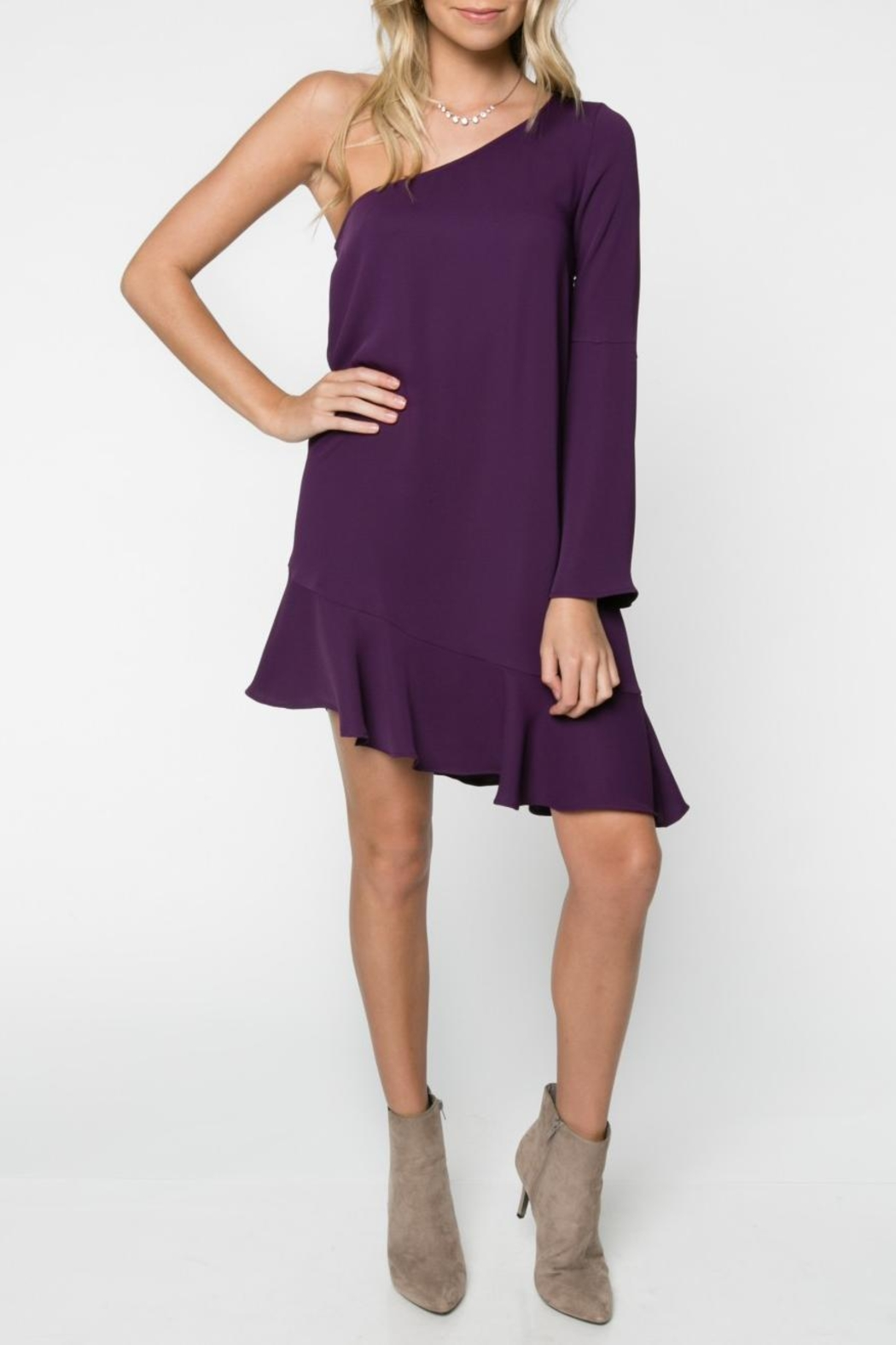 Everly One Shoulder Dress - Front Full Image