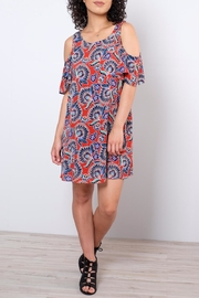 Everly Paisley Cold Shoulder Dress - Front cropped