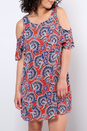 Everly Paisley Cold Shoulder Dress - Front full body