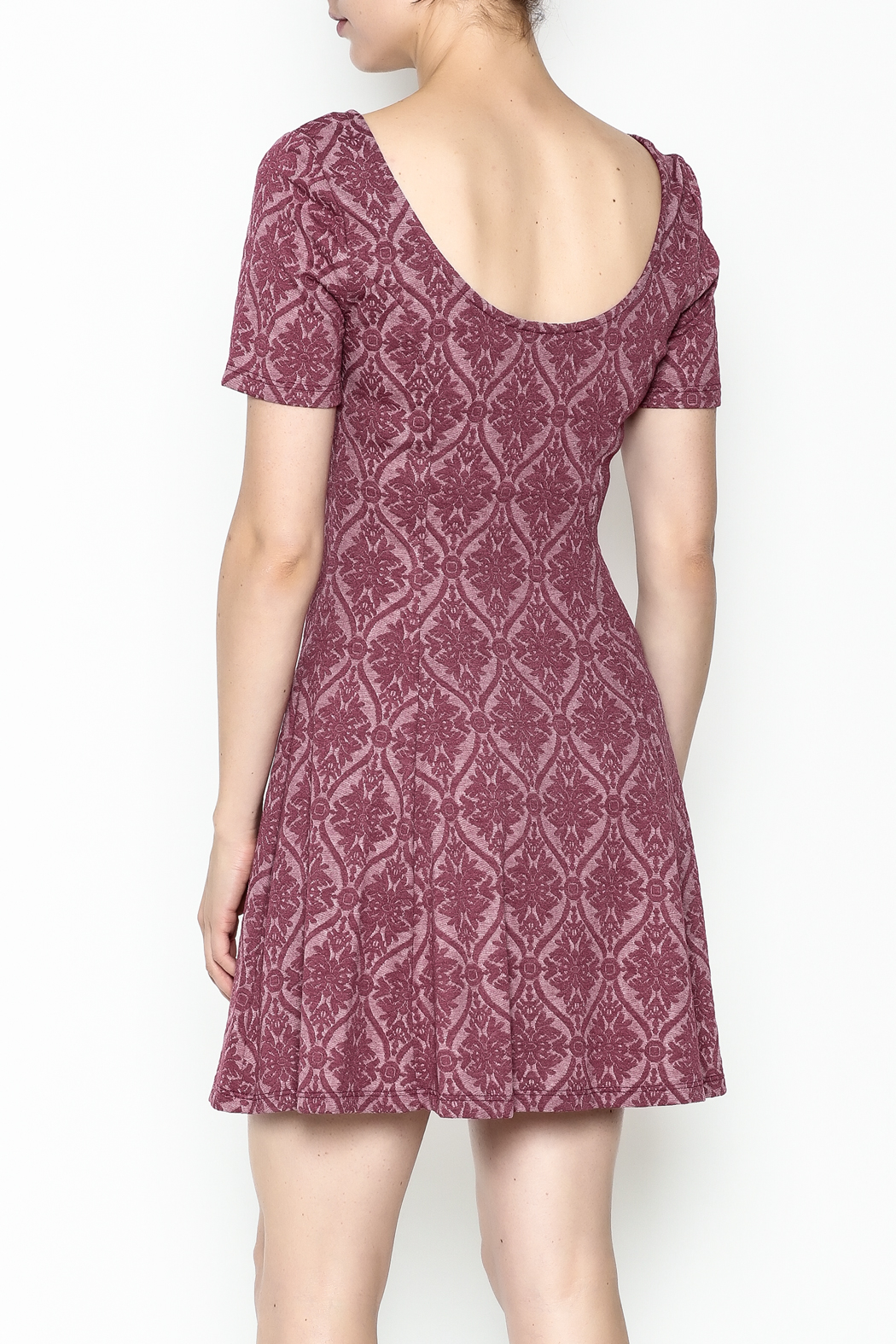 Everly Patterned Deep Pink Dress - Back Cropped Image