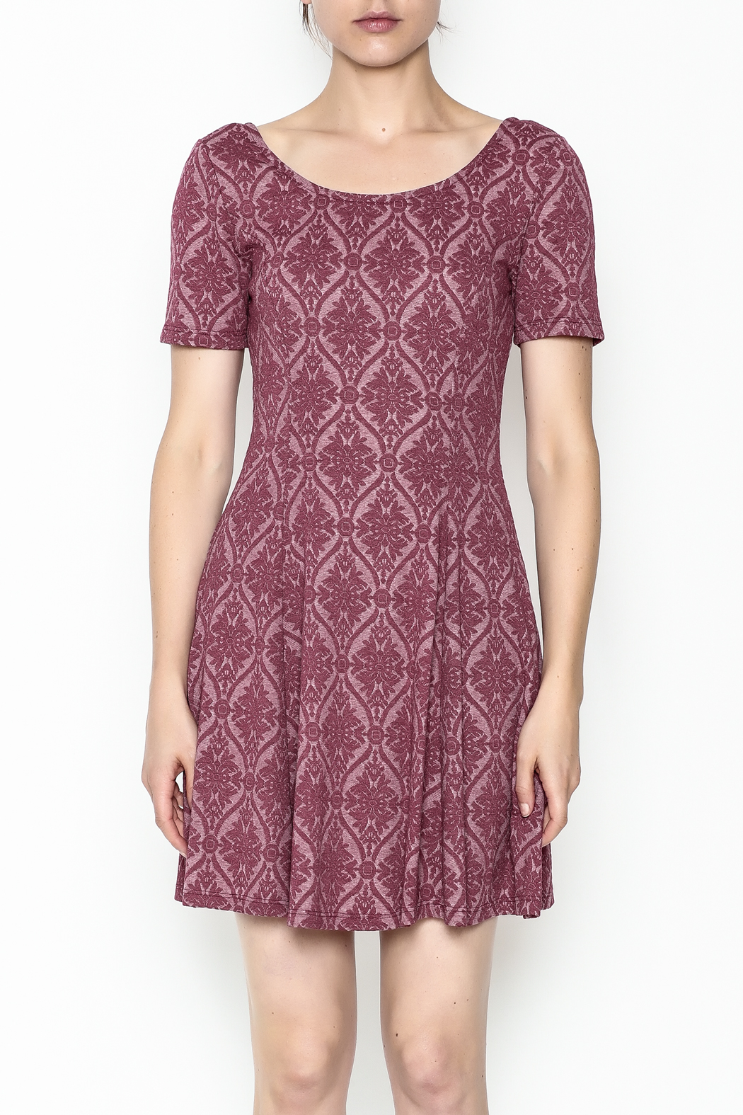Everly Patterned Deep Pink Dress - Front Full Image