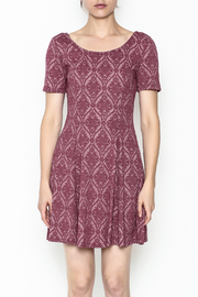Everly Patterned Deep Pink Dress - Front full body