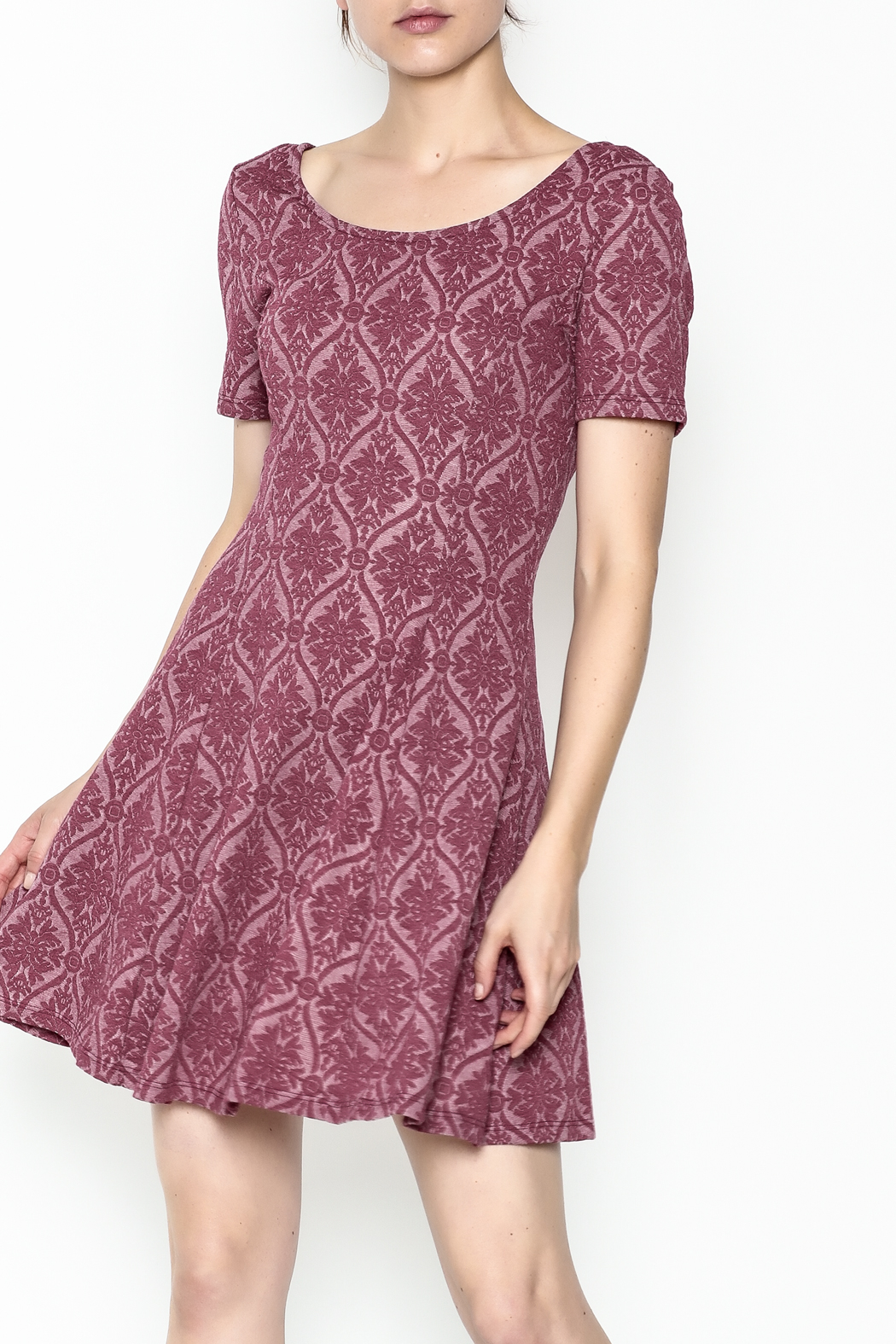 Everly Patterned Deep Pink Dress - Main Image