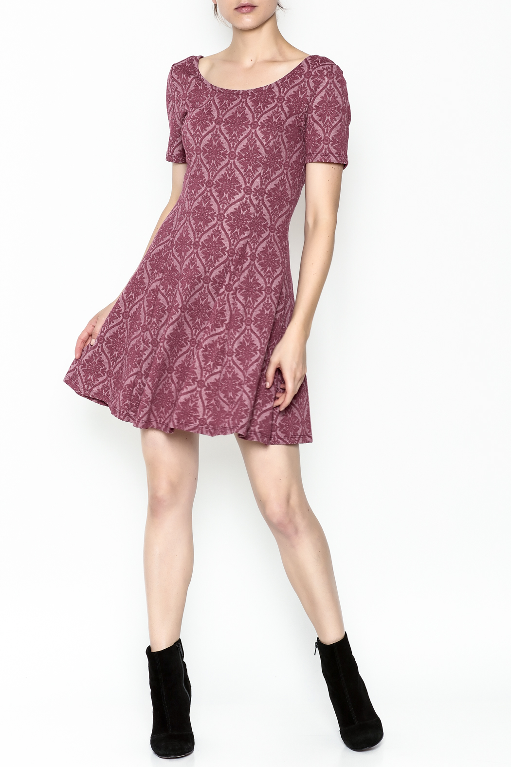 Everly Patterned Deep Pink Dress - Side Cropped Image