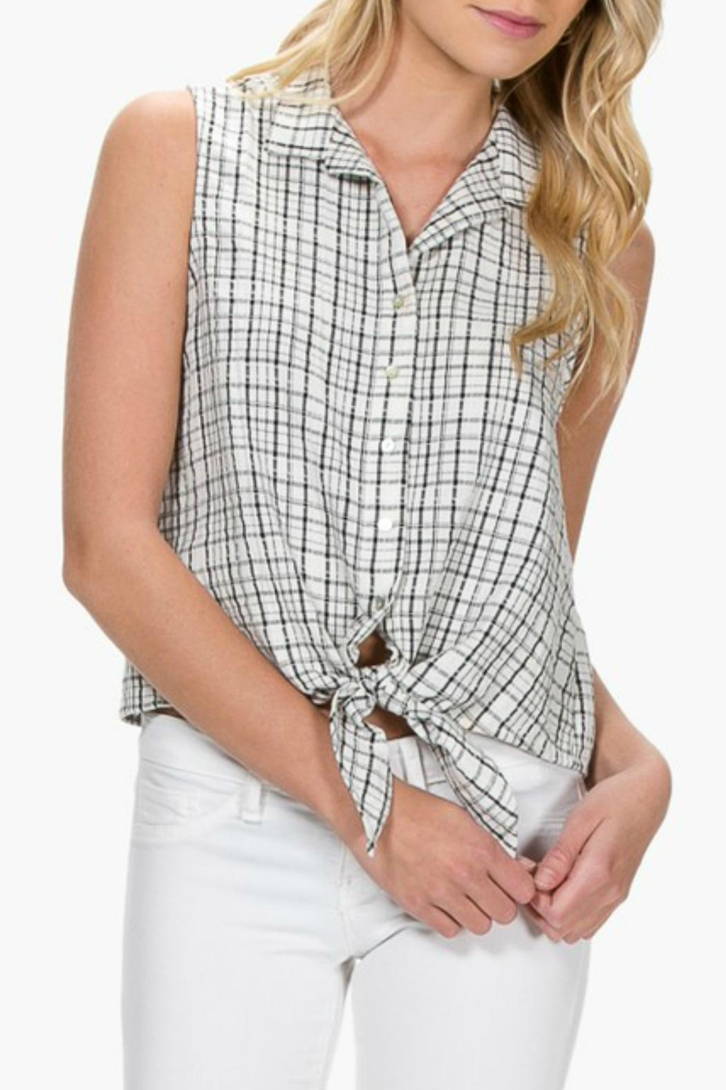 Everly Plaid Front-Tie Top - Main Image