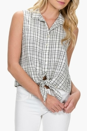 Everly Plaid Front-Tie Top - Front cropped