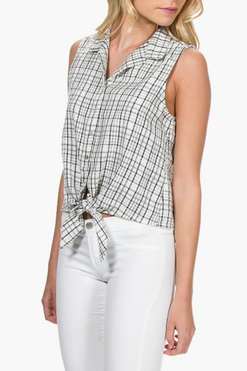 Everly Plaid Front-Tie Top - Back Cropped Image