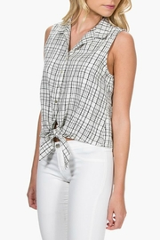 Everly Plaid Front-Tie Top - Back cropped