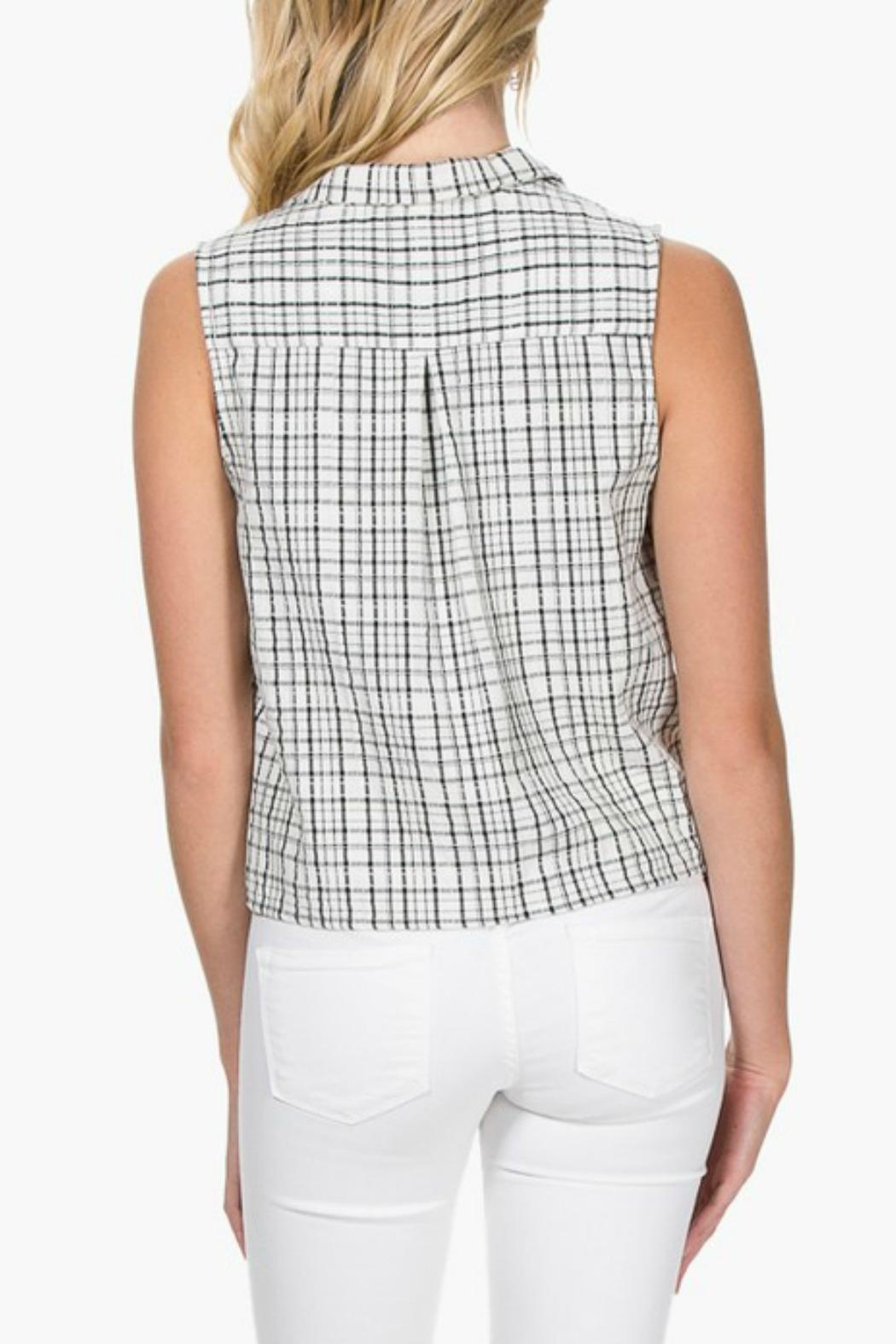 Everly Plaid Front-Tie Top - Front Full Image
