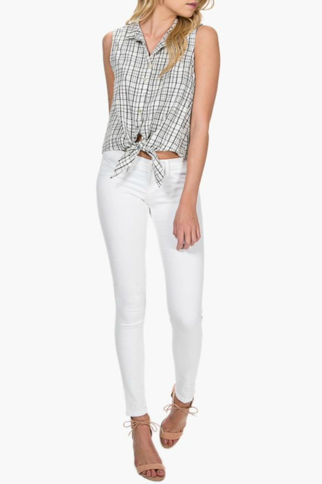 Everly Plaid Front-Tie Top - Side Cropped Image