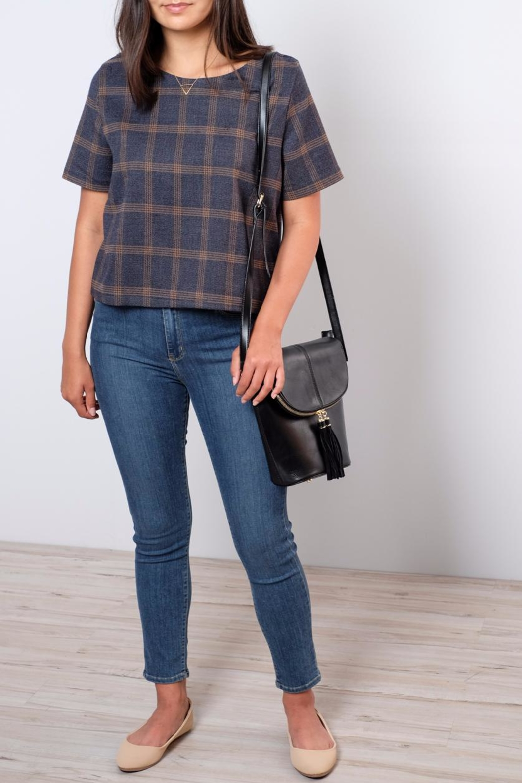 Everly Plaid Woven Top - Front Cropped Image