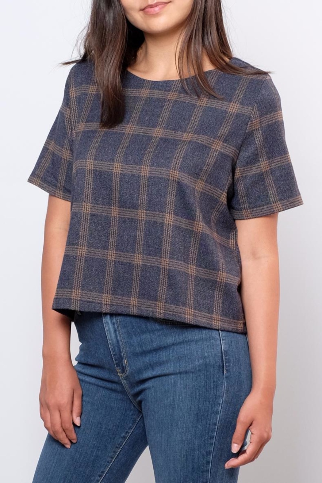 Everly Plaid Woven Top - Side Cropped Image