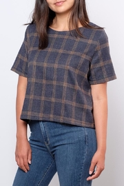Everly Plaid Woven Top - Side cropped