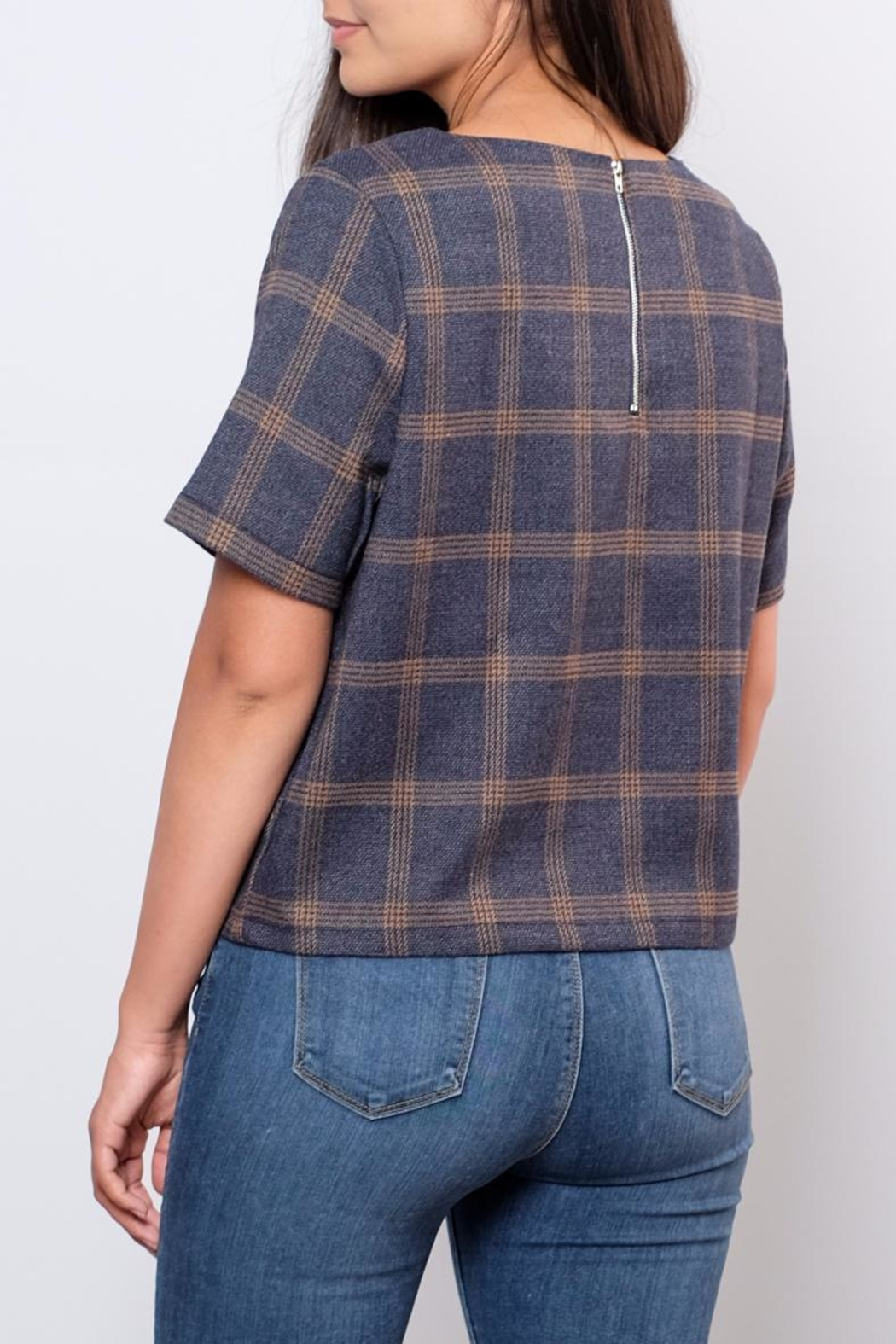 Everly Plaid Woven Top - Back Cropped Image