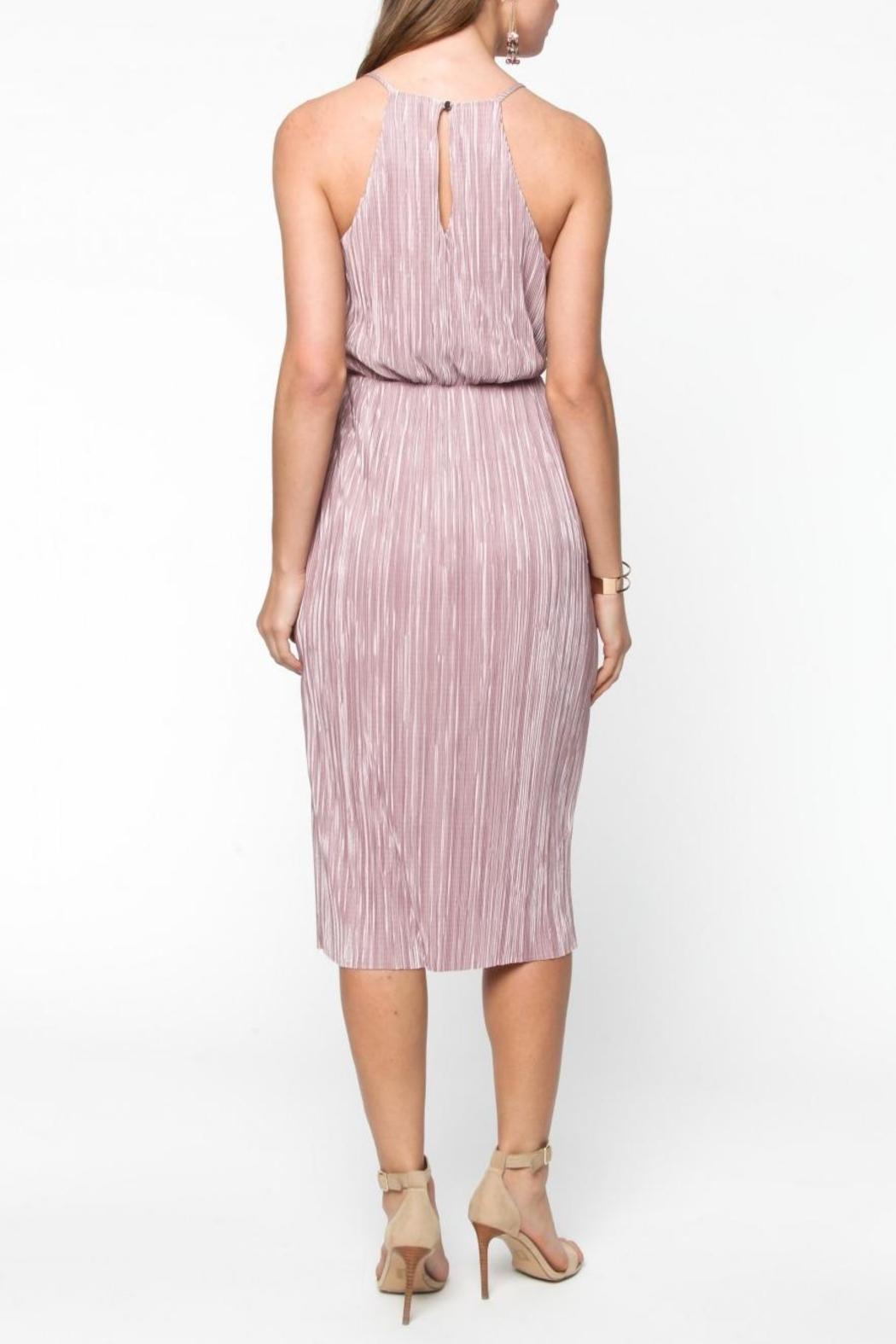 Everly Pleated Midi Dress - Side Cropped Image
