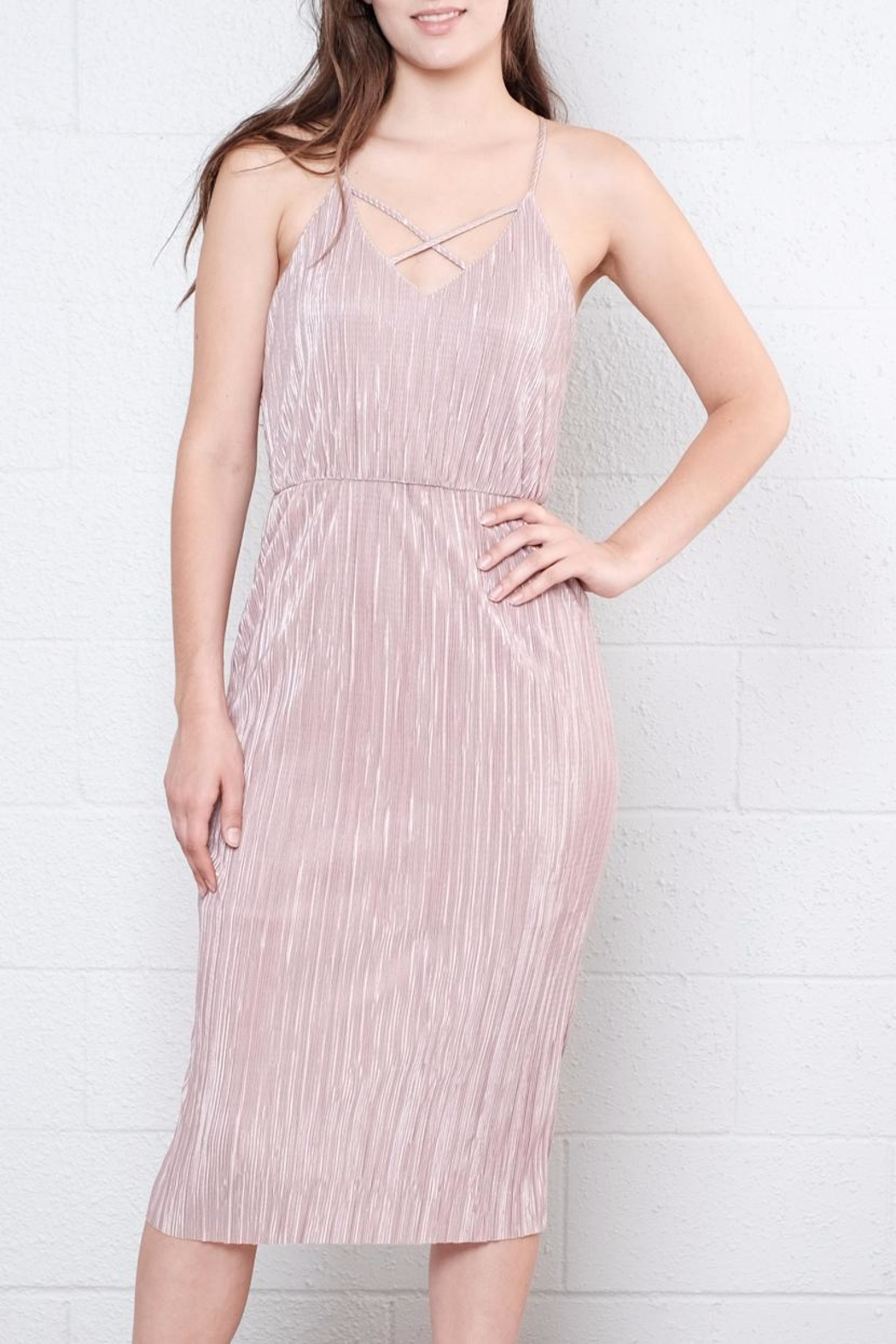 Everly Pleated Midi Dress - Front Full Image