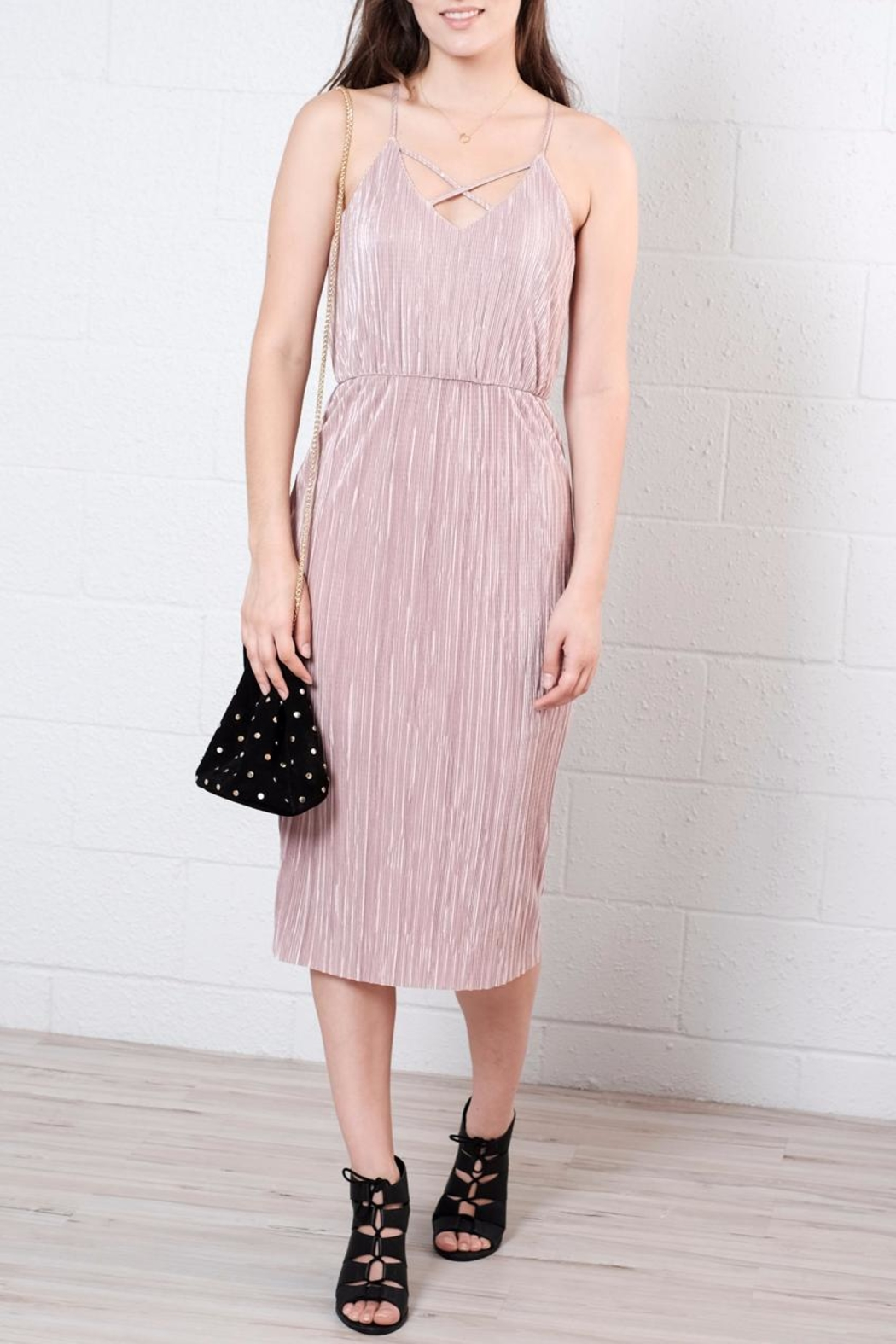 Everly Pleated Midi Dress - Front Cropped Image