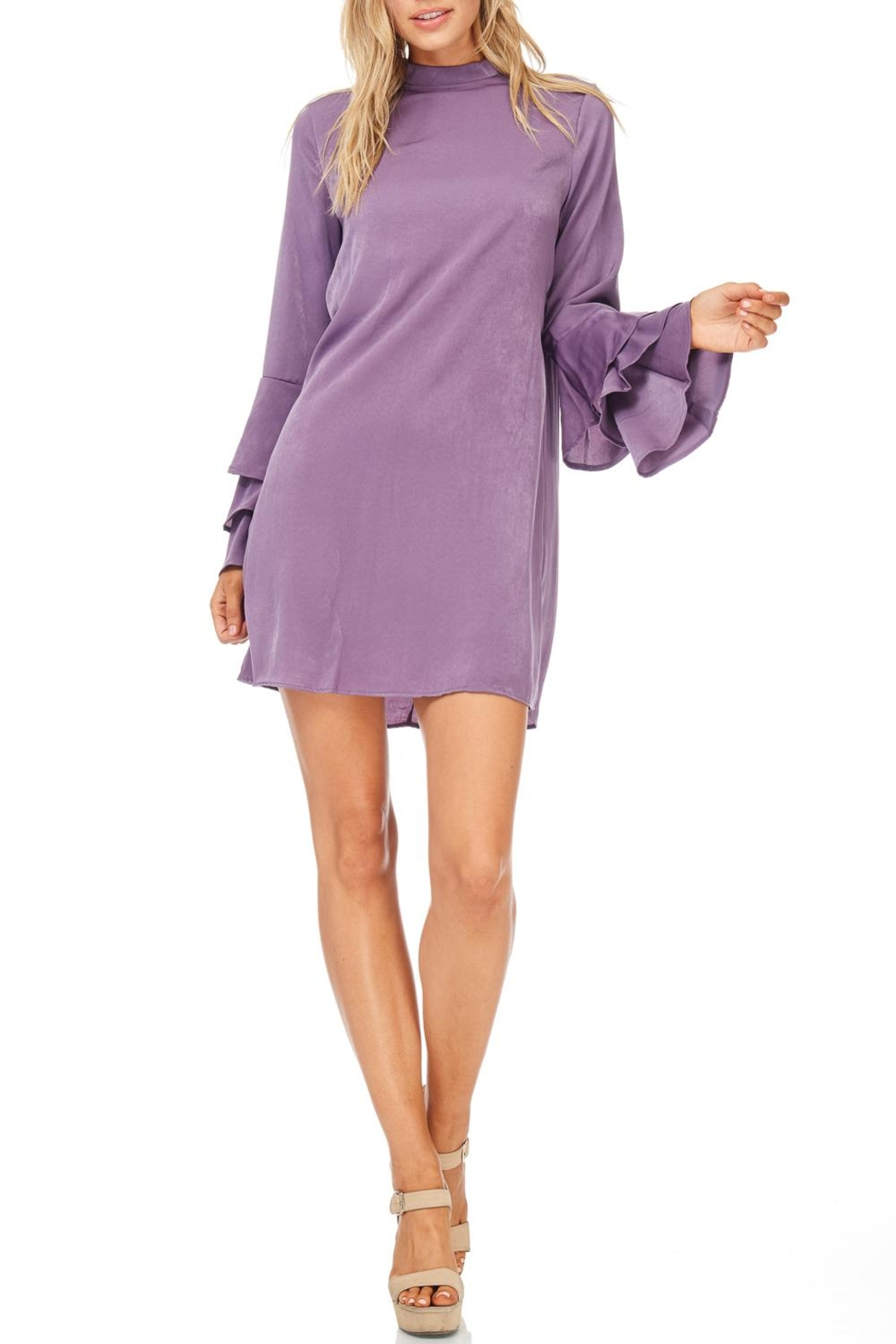 Everly Plum Silky Tiered Sleeve Dress - Front Full Image