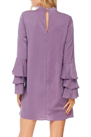 Everly Plum Silky Tiered Sleeve Dress - Back cropped