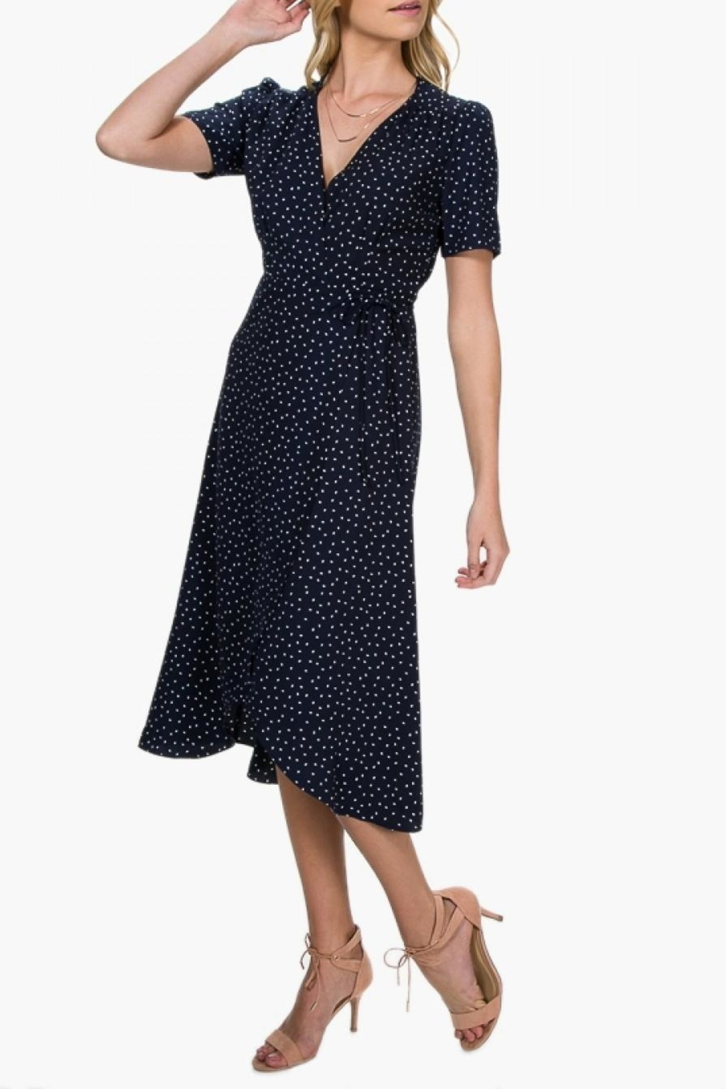 Everly Polka-Dot Wrap Dress - Front Full Image