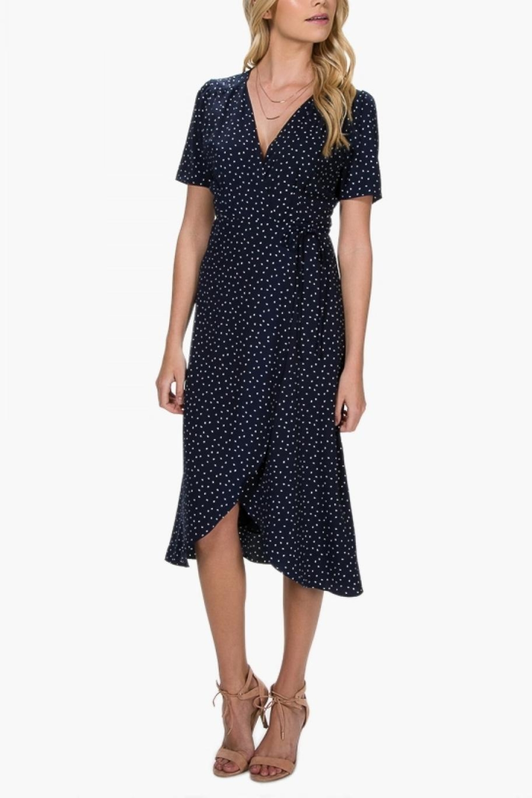 Everly Polka-Dot Wrap Dress - Front Cropped Image