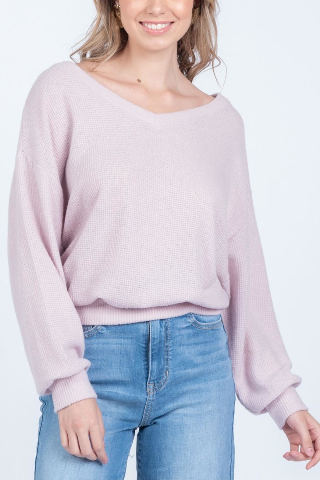 Everly Powder Sugar Waffle Top - Front Cropped Image