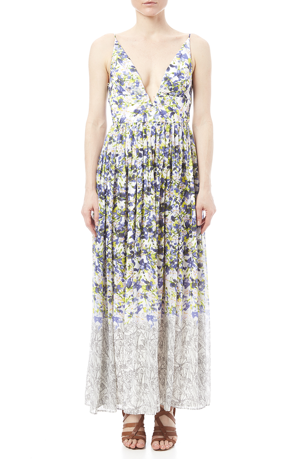 Everly Floral Print Maxi - Front Cropped Image