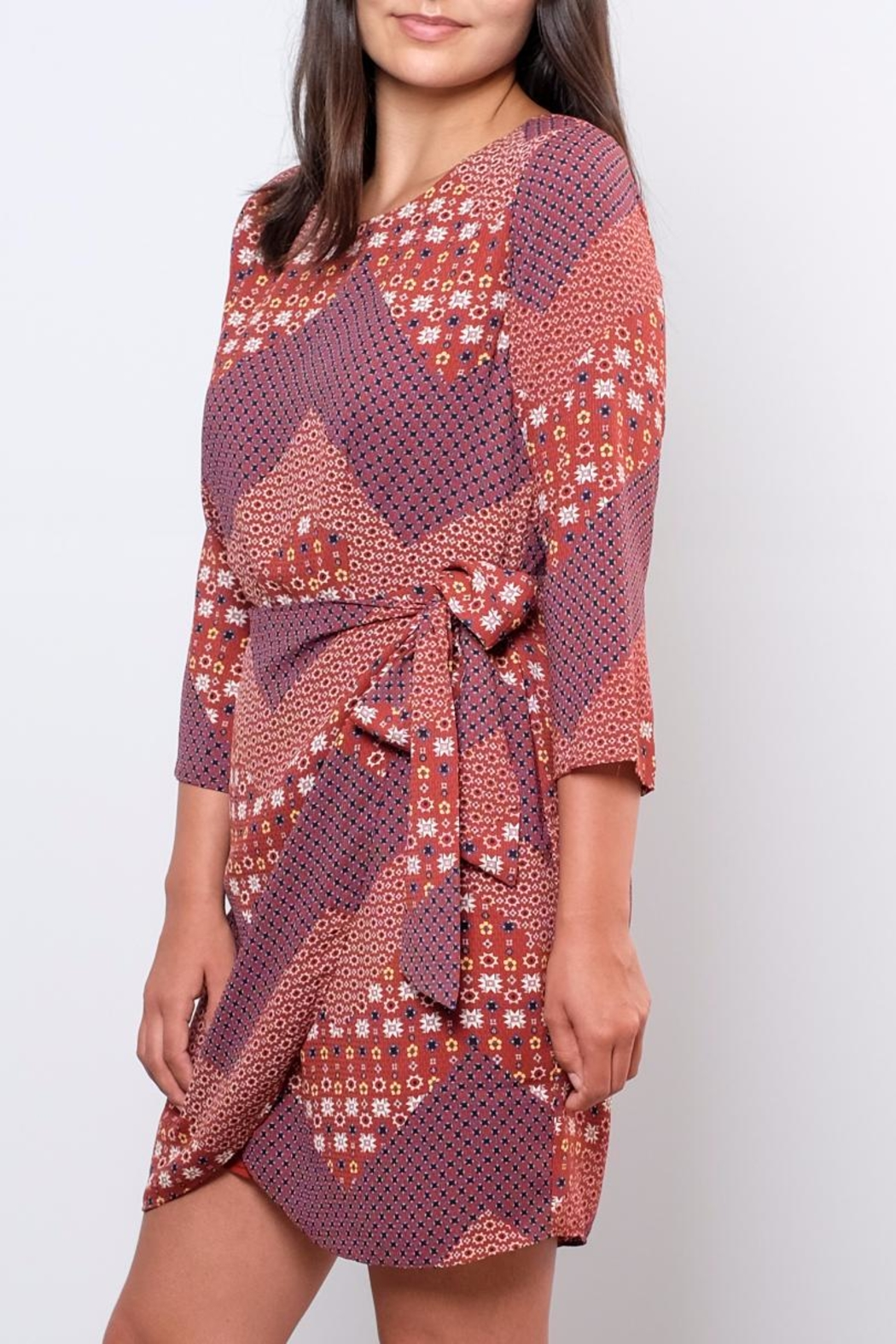 Everly Printed Wrap Dress - Front Full Image