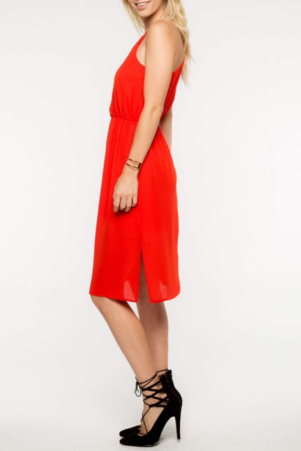 Everly Red Midi Dress - Front Full Image