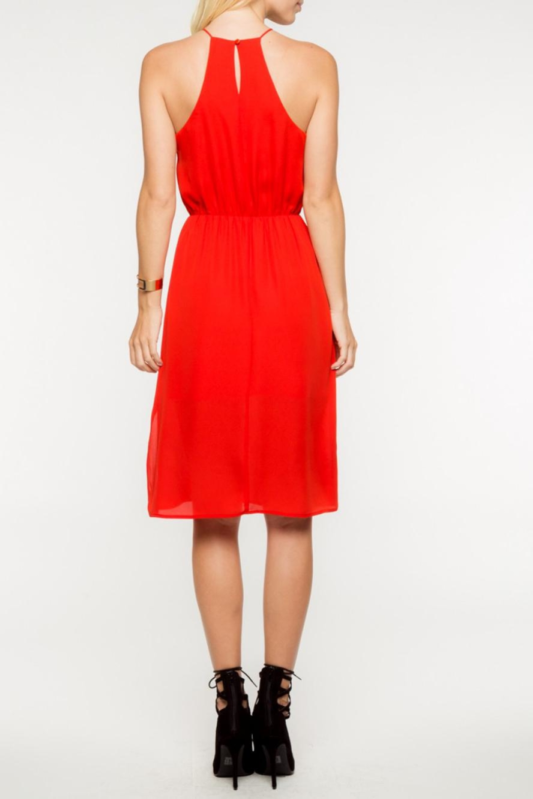 Everly Red Midi Dress - Side Cropped Image