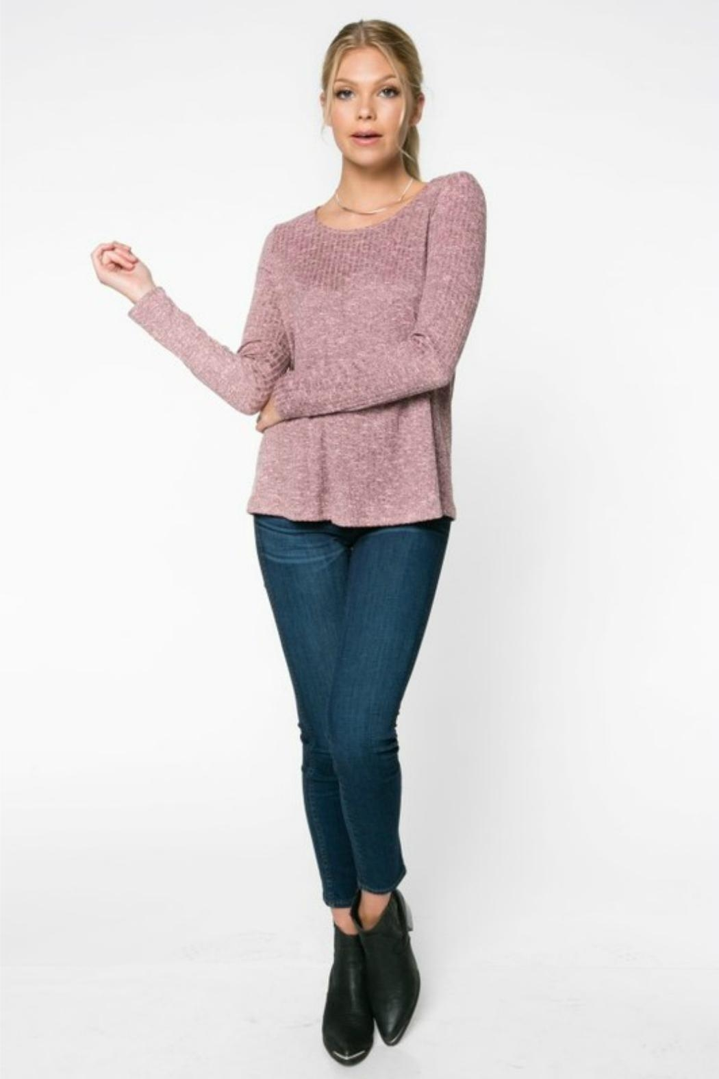 Everly Rib-Knit Top - Back Cropped Image