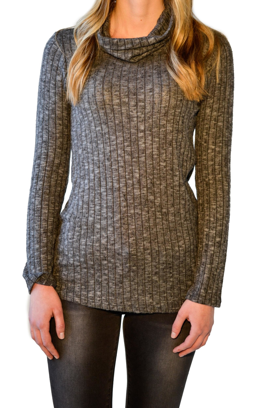 Everly Ribbed Turtleneck - Front Cropped Image