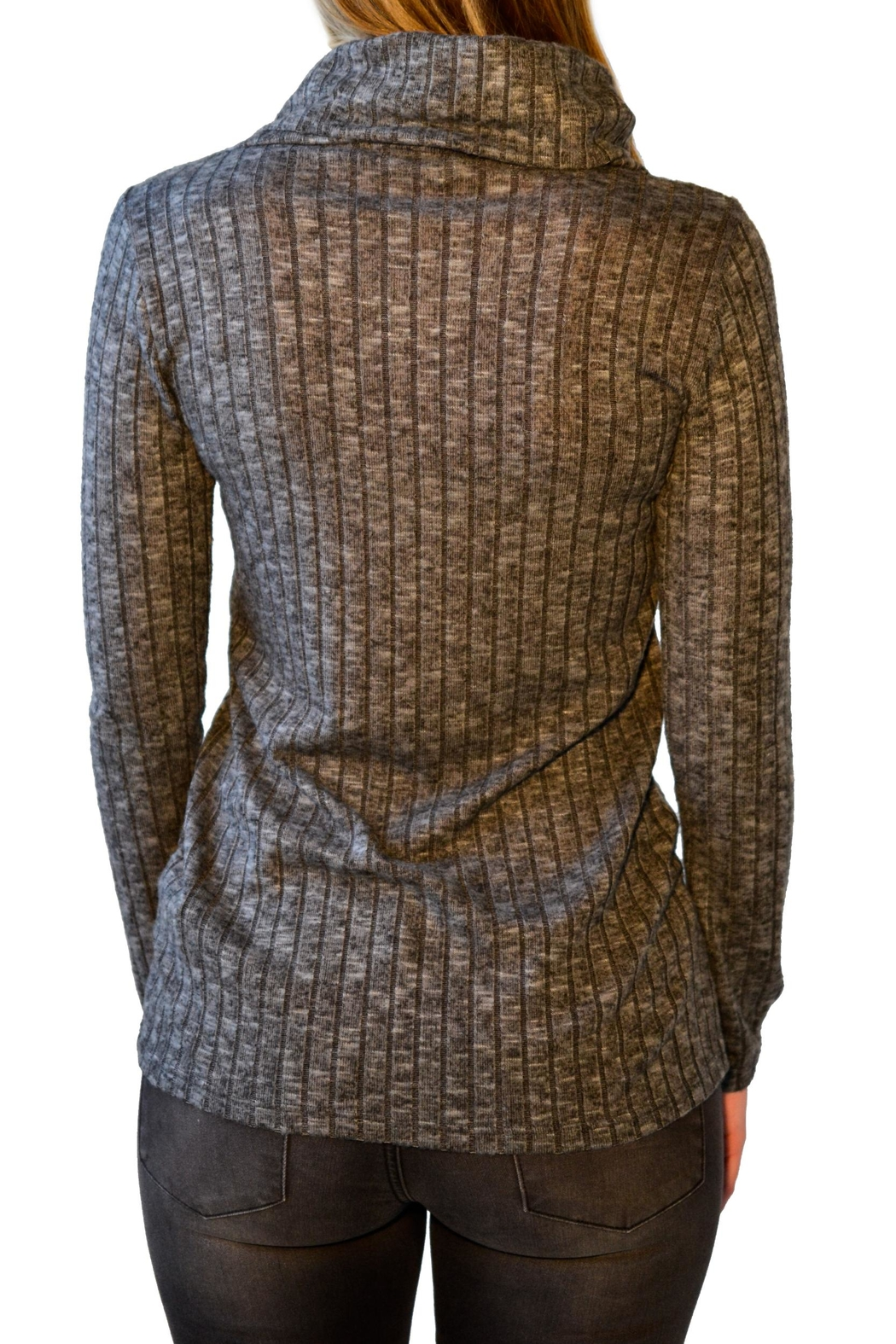 Everly Ribbed Turtleneck - Back Cropped Image