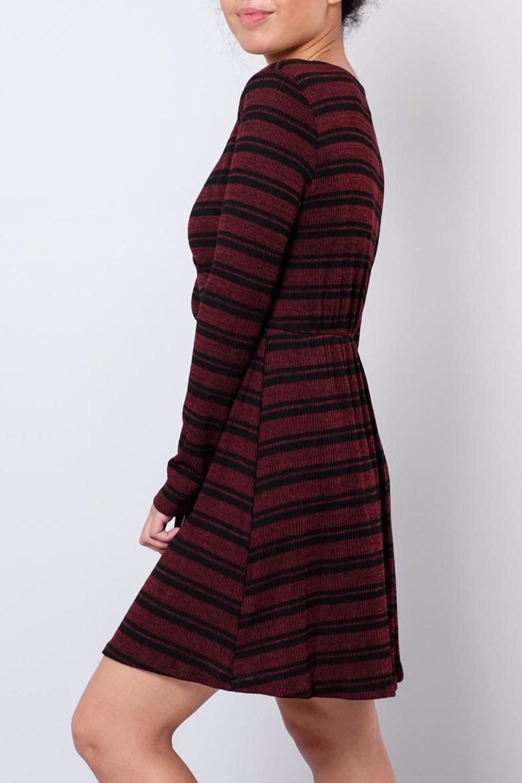 Everly Ribbed Wrap Dress - Front Full Image