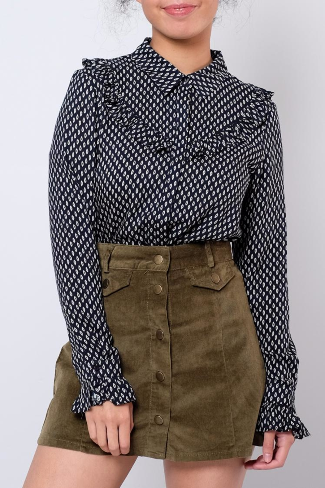Everly Ruffled Country Shirt - Front Cropped Image