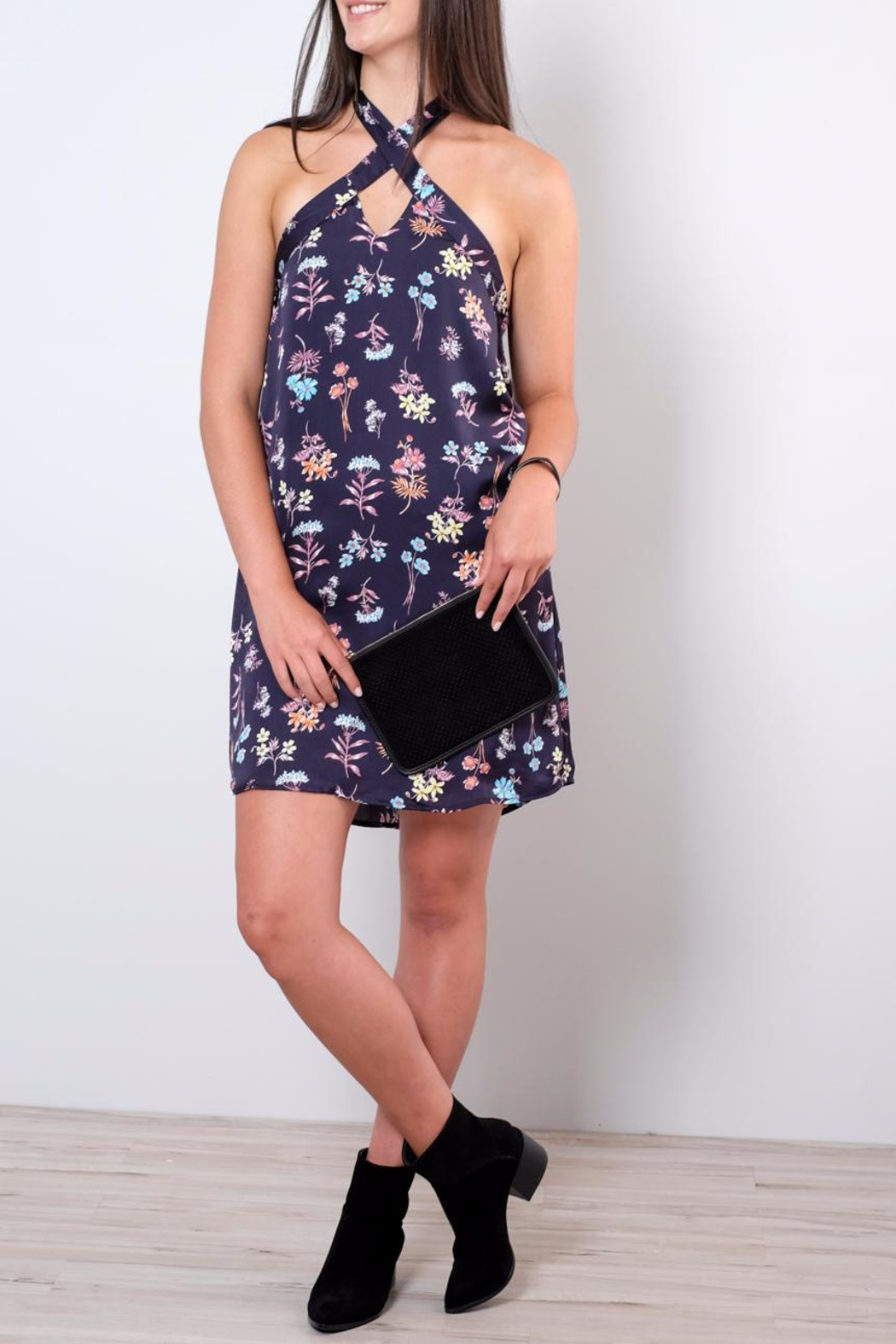 Everly Satin Halter Dress - Front Cropped Image