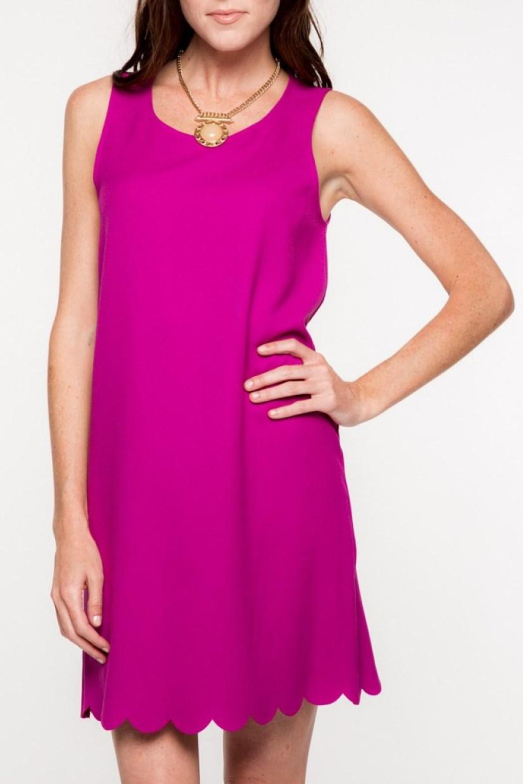 Everly Scalloped Hemline Dress - Front Cropped Image