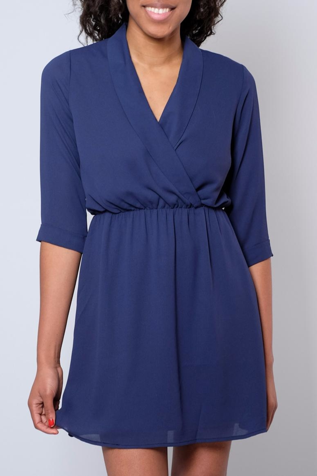 Everly Shawl Neck Dress - Front Cropped Image