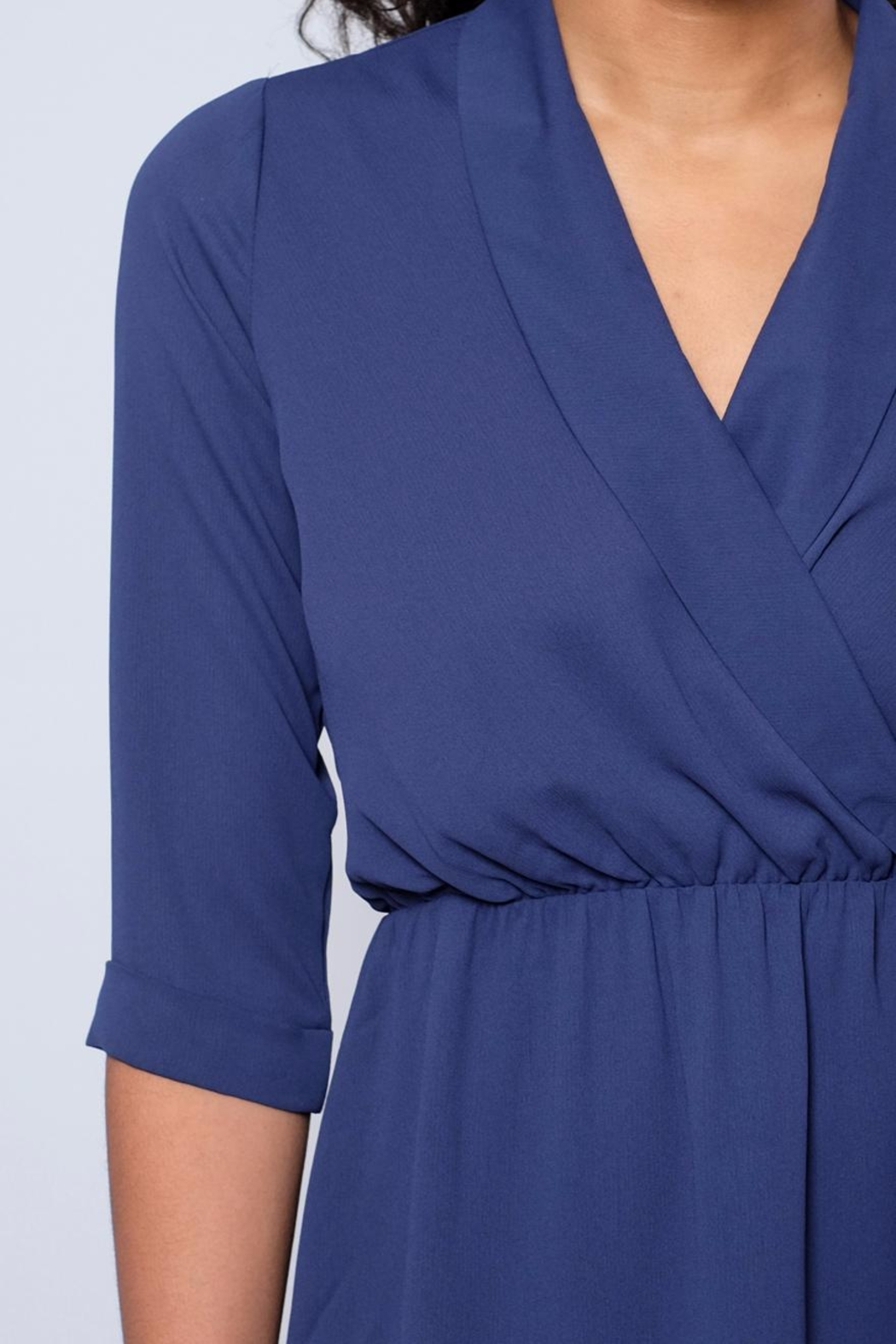 Everly Shawl Neck Dress - Back Cropped Image