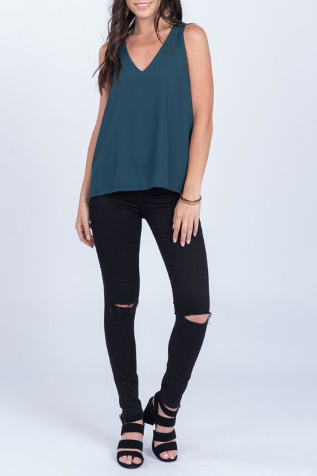 Everly Silky Tank Pine - Side Cropped Image