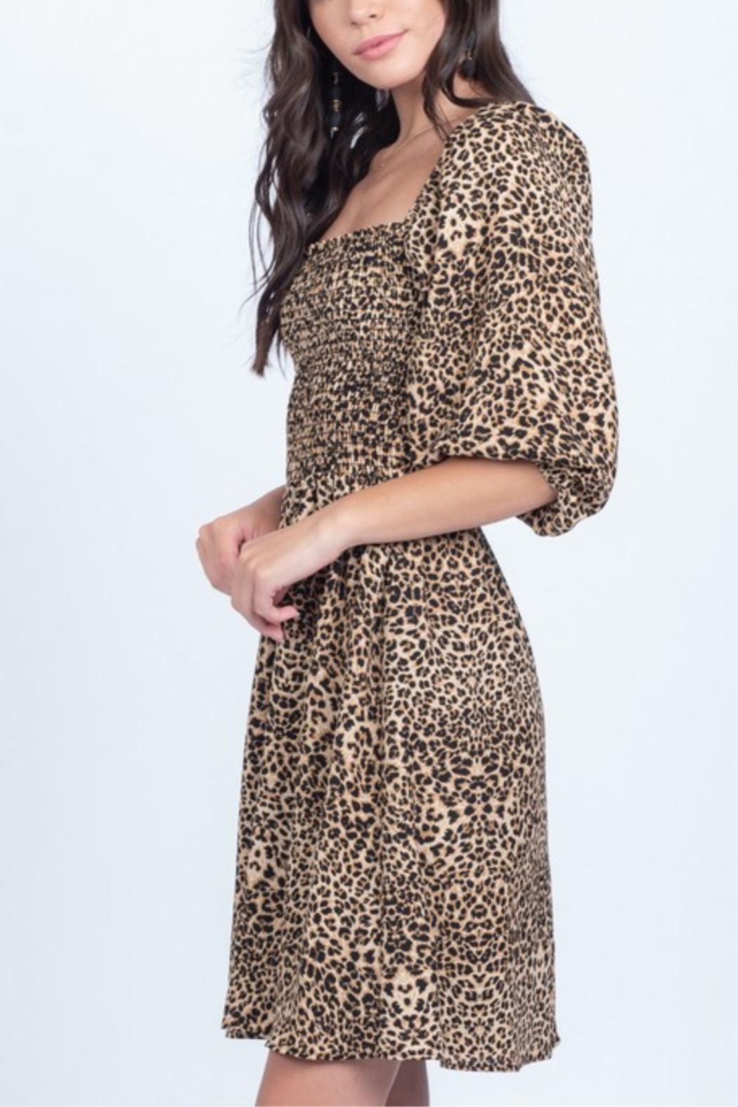 Everly Smocked Animal Print Dress - Front Full Image