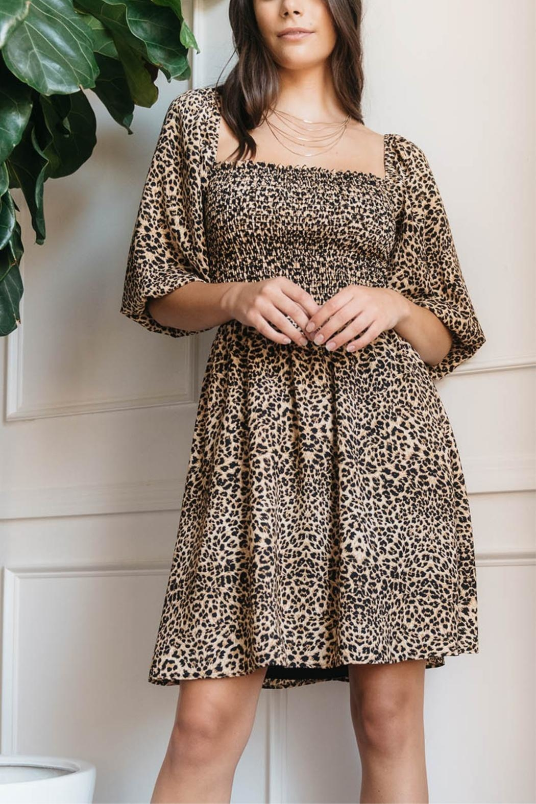 Everly Smocked Animal Print Dress - Front Cropped Image