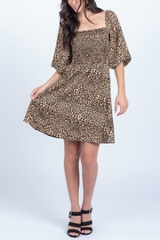 Everly Smocked Animal Print Dress - Side cropped