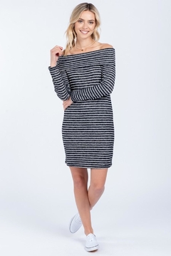 Everly Soft Striped Off Shoulder Dress - Product List Image