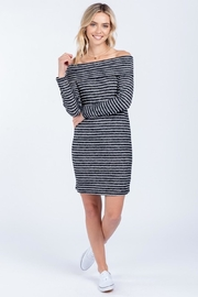 Everly Soft Striped Off Shoulder Dress - Product Mini Image