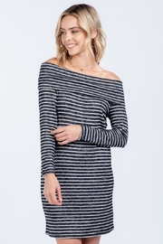 Everly Soft Striped Off Shoulder Dress - Front full body