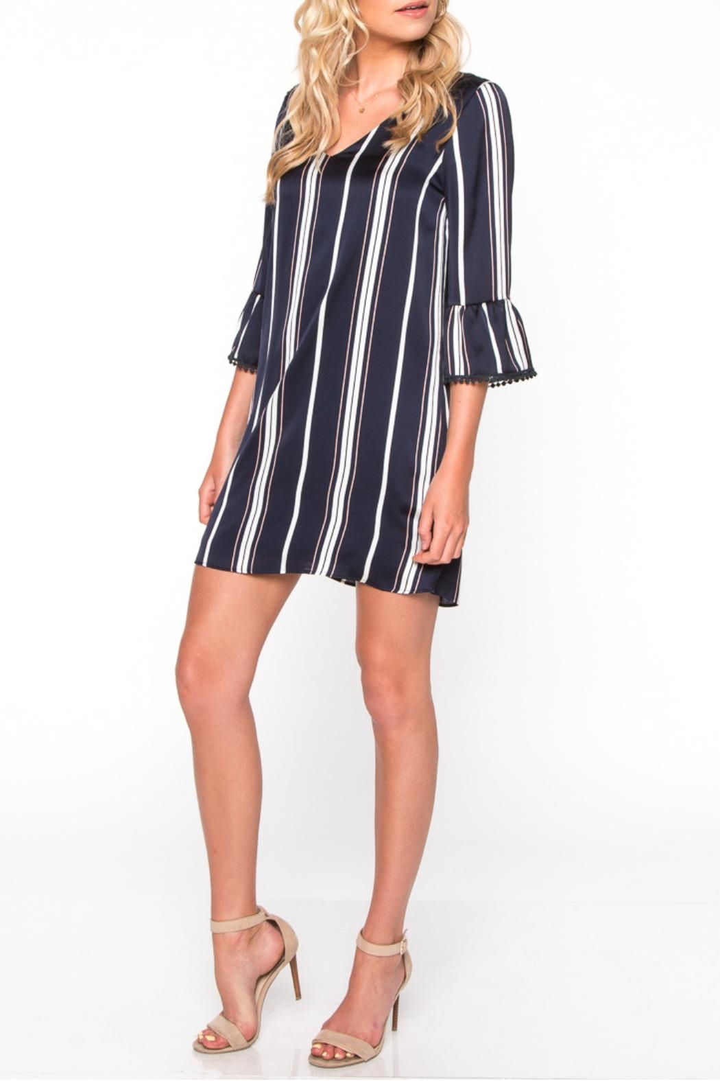 Everly Striped Pompom Dress - Front Cropped Image