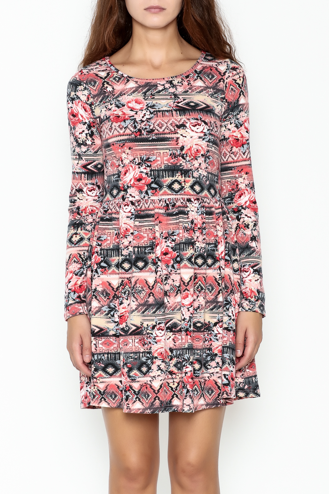 Everly Tribal Print Dress - Front Full Image
